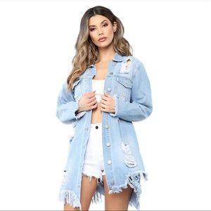 Jackets & Blazers - Distressed backless long denim shirt/coat